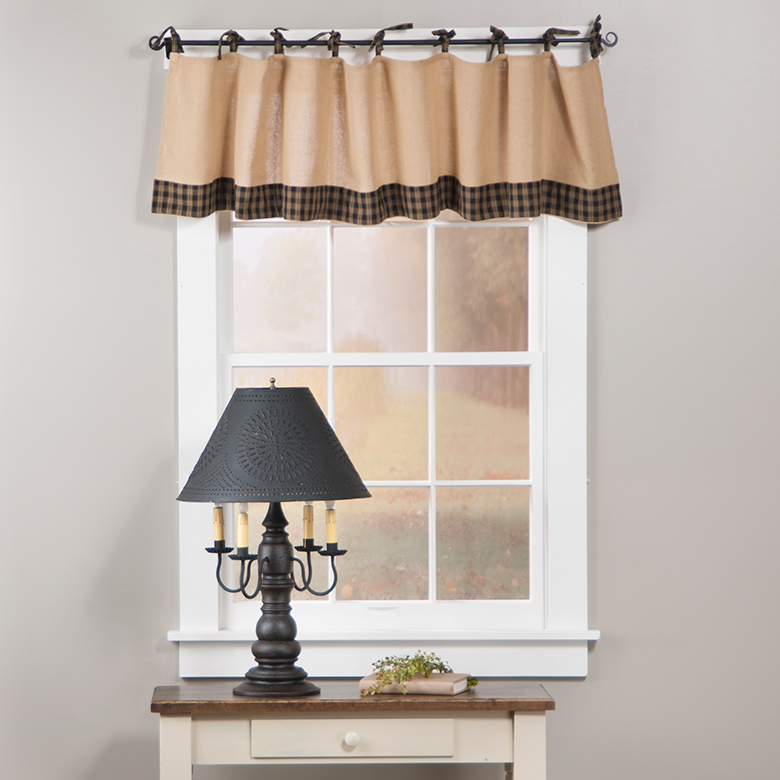 Valance W Burlap Ties And: Country Primitive Curtains By Collection