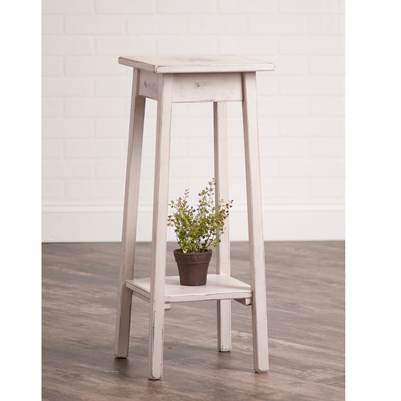 Wooden Plant Stand In Worn White Irvin S Tinware