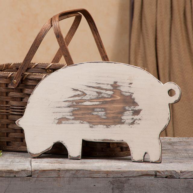 Decorative Wooden Pig Cutting Board in Cream