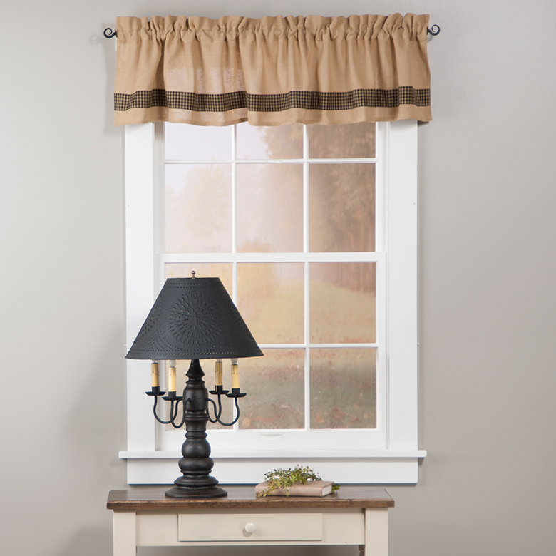 Burlap And Check Unlined Valance In Black Irvin S Tinware