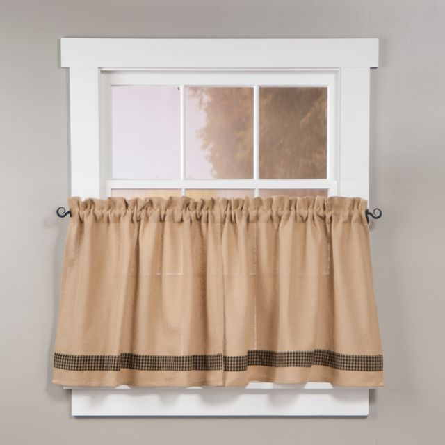 Check Unlined 24 Inch Tier Curtains