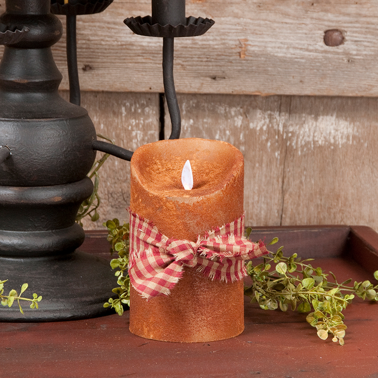 3x5 Inch Primitive Flameless Pillar Candle In Mustard Irvin S Tinware