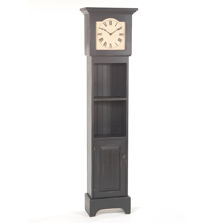 Grandfather Clock With Shelves In Black Irvin S Tinware
