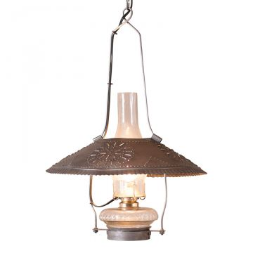 Country new aged blacken punched tin HOMESTEAD hanging shade light nice