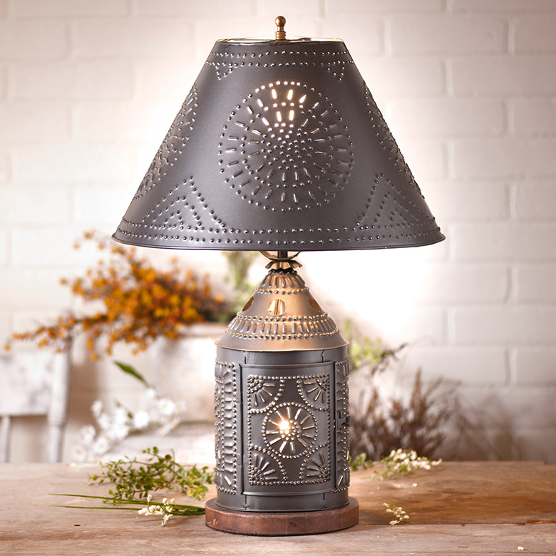 "Country new Large 17/"" punched tin Smokey black flare side lamp shade"